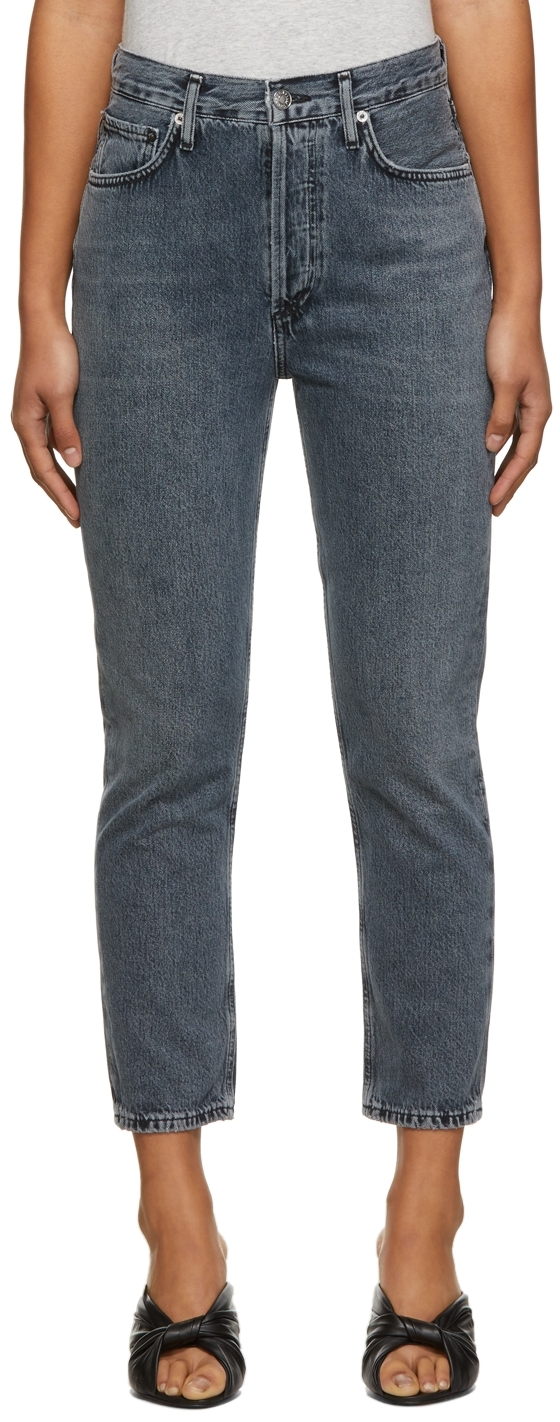 AGOLDE Grey Riley High-Rise Straight Crop Jeans