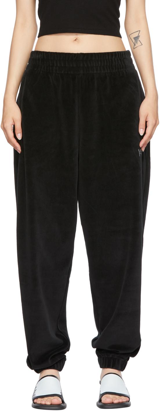 Black Velour Crystal Logo Lounge Pants