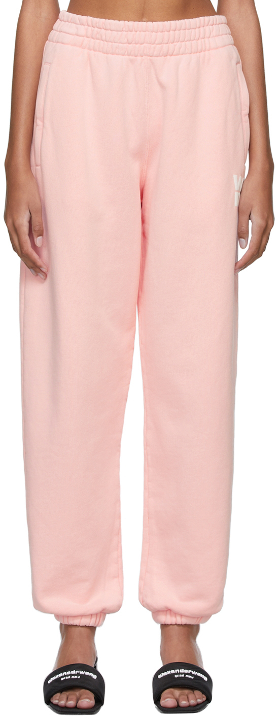 Pink Structured Terry Puff Logo Lounge Pants