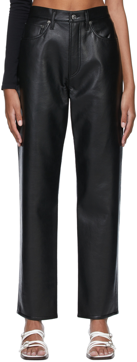 Black 90s Recycled Leather Trousers