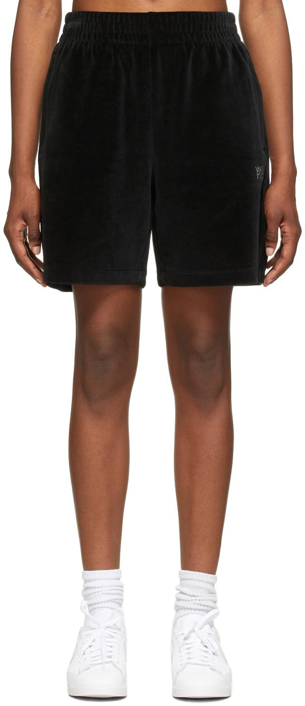 Black Velour Hotfix Logo Shorts