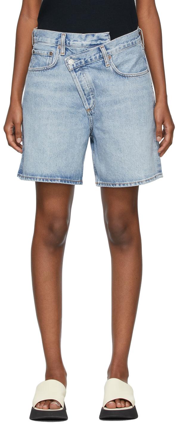 Blue Denim Criss Cross Upsized Shorts