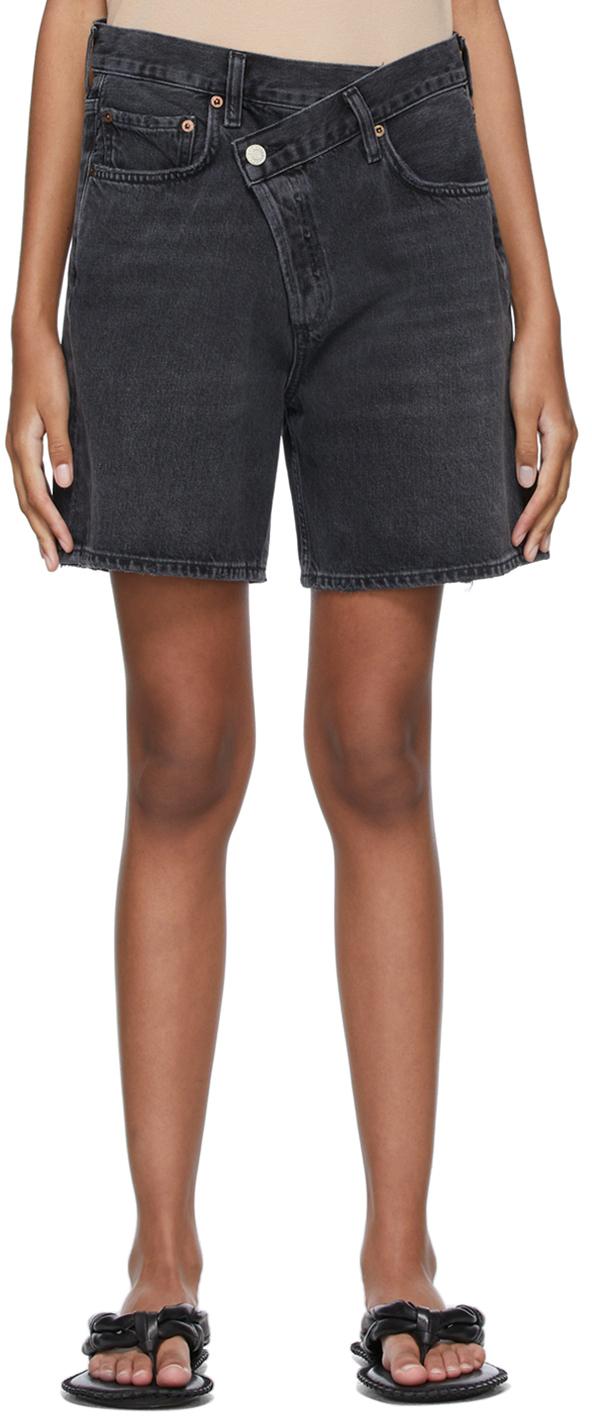 Black Denim Criss Cross Upsized Shorts