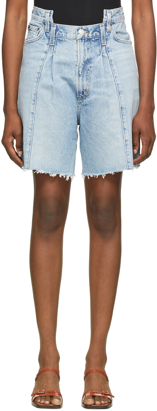 Blue Pieced Angled Shorts