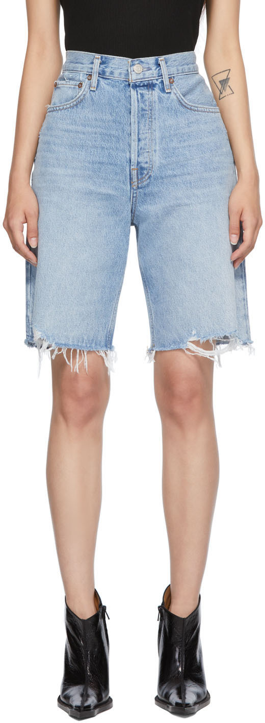Blue 90s Mid-Rise Loose Shorts