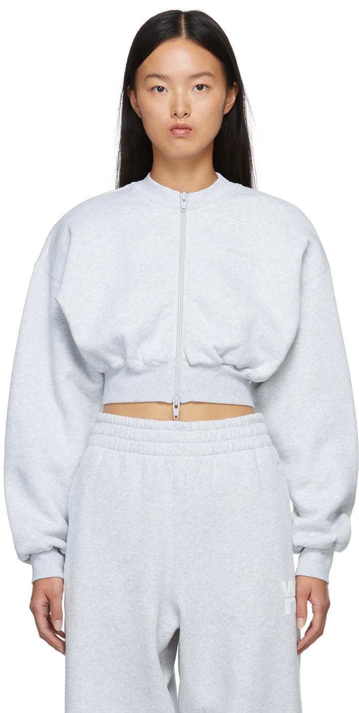 Grey Zip Crewneck Sweatshirt