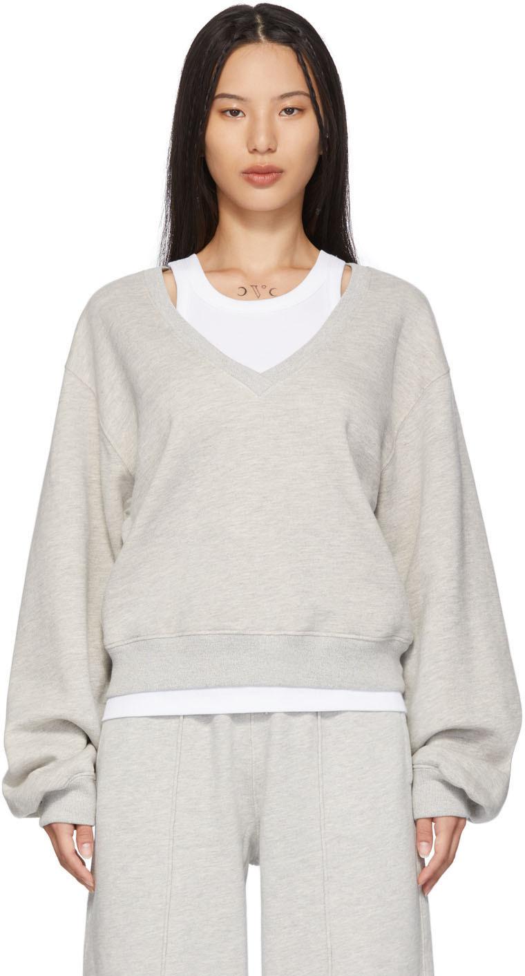 Grey V-Neck Balloon Sleeve Sweatshirt
