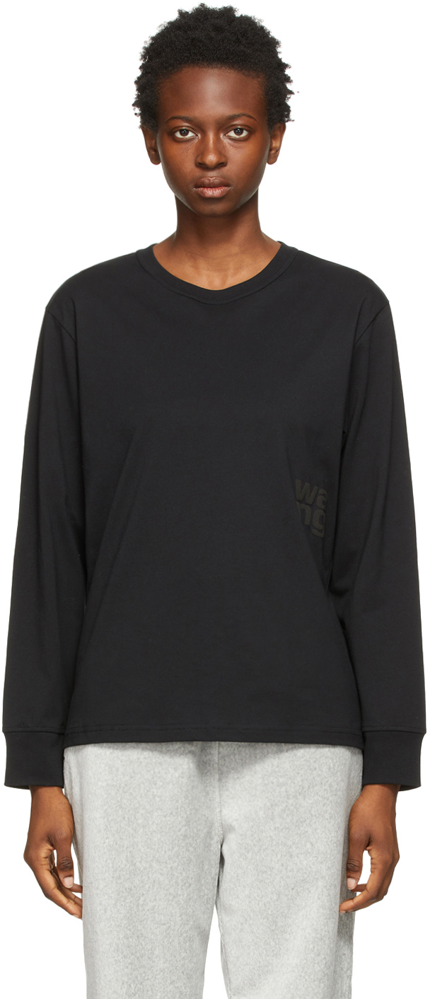 Black Puff Logo Long Sleeve T-Shirt