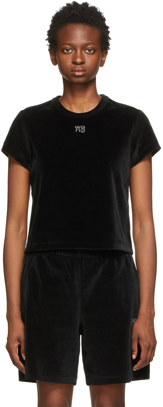Black Velour Hotfix Logo Baby T-Shirt