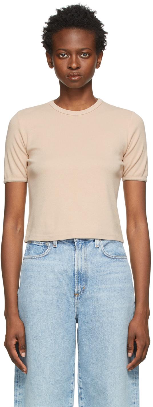 Beige Rib Relaxed T-Shirt