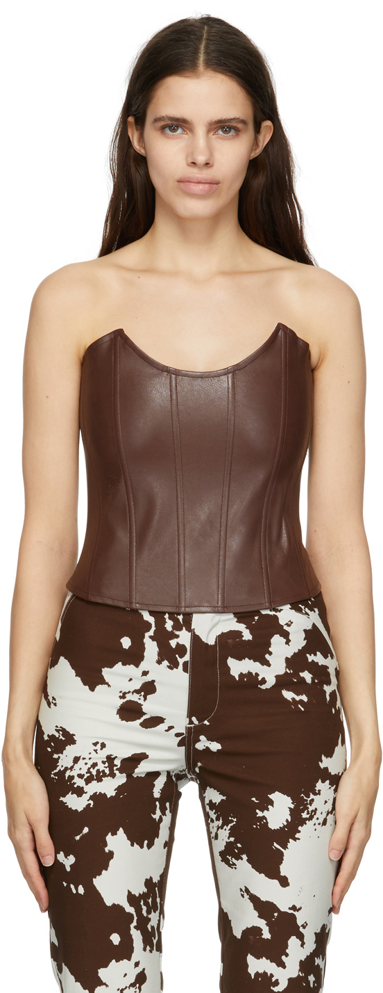 Brown Faux-Leather Leia Corset