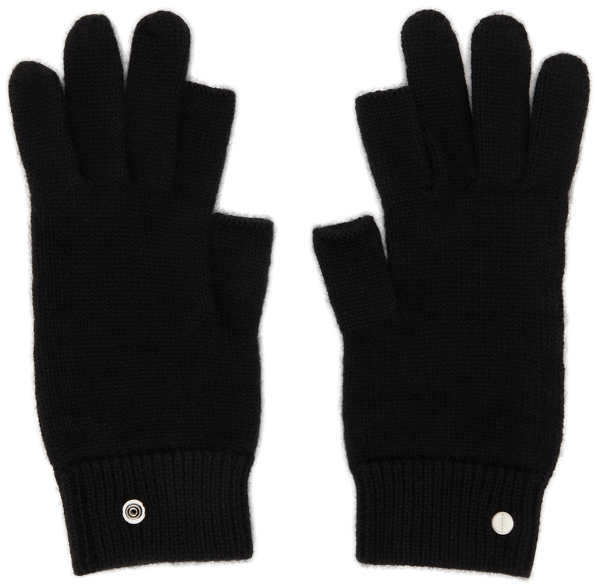 Black Cashmere Touch Screen Gloves