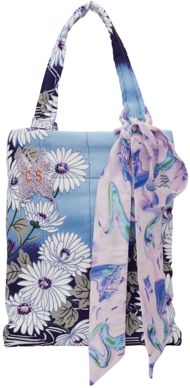 SSENSE Exclusive Blue Floral Crystal Pin Tote