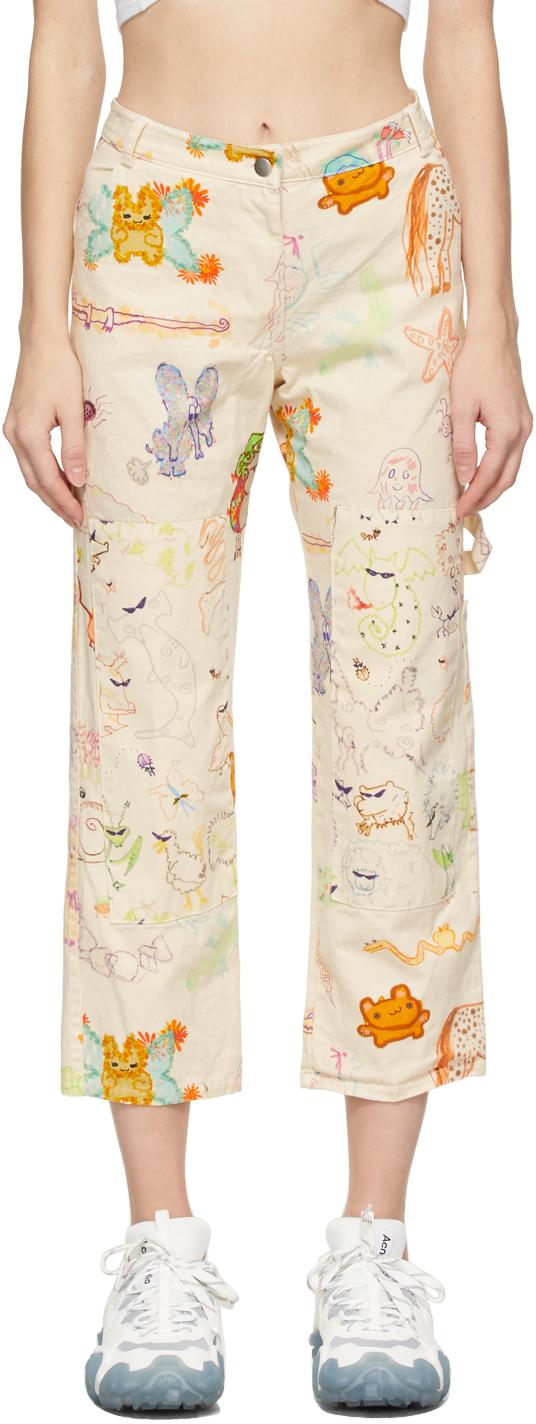 Beige Animal Print Chason Jeans
