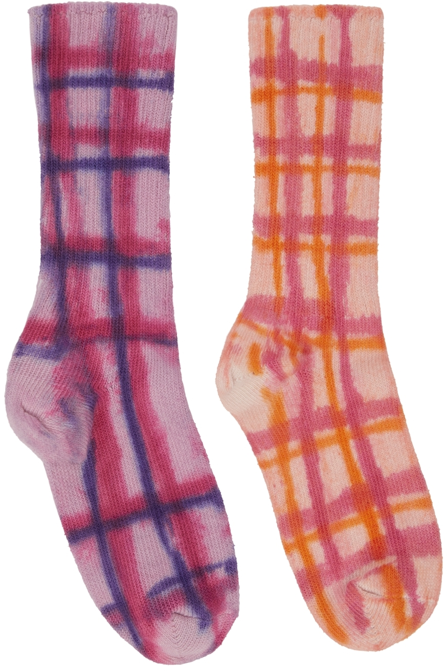 Multicolor Check Hand-Dyed Socks