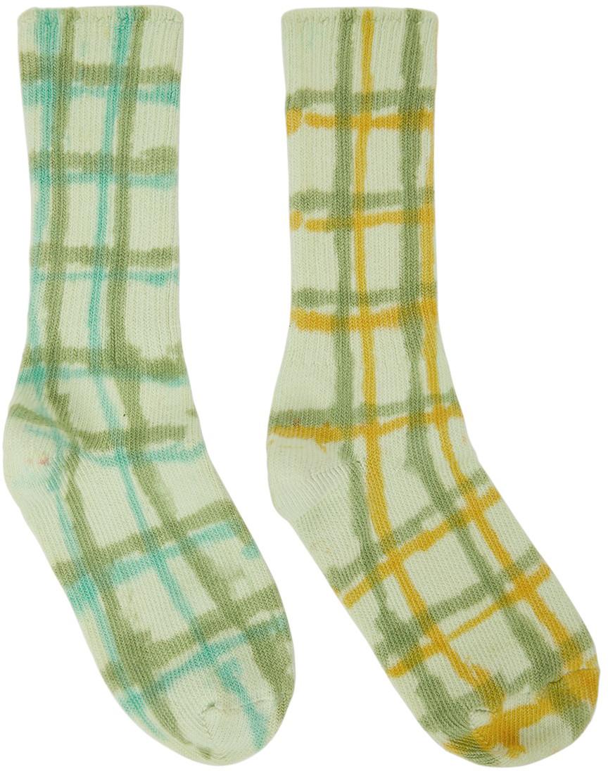 Green & Yellow Hand-Dyed Socks
