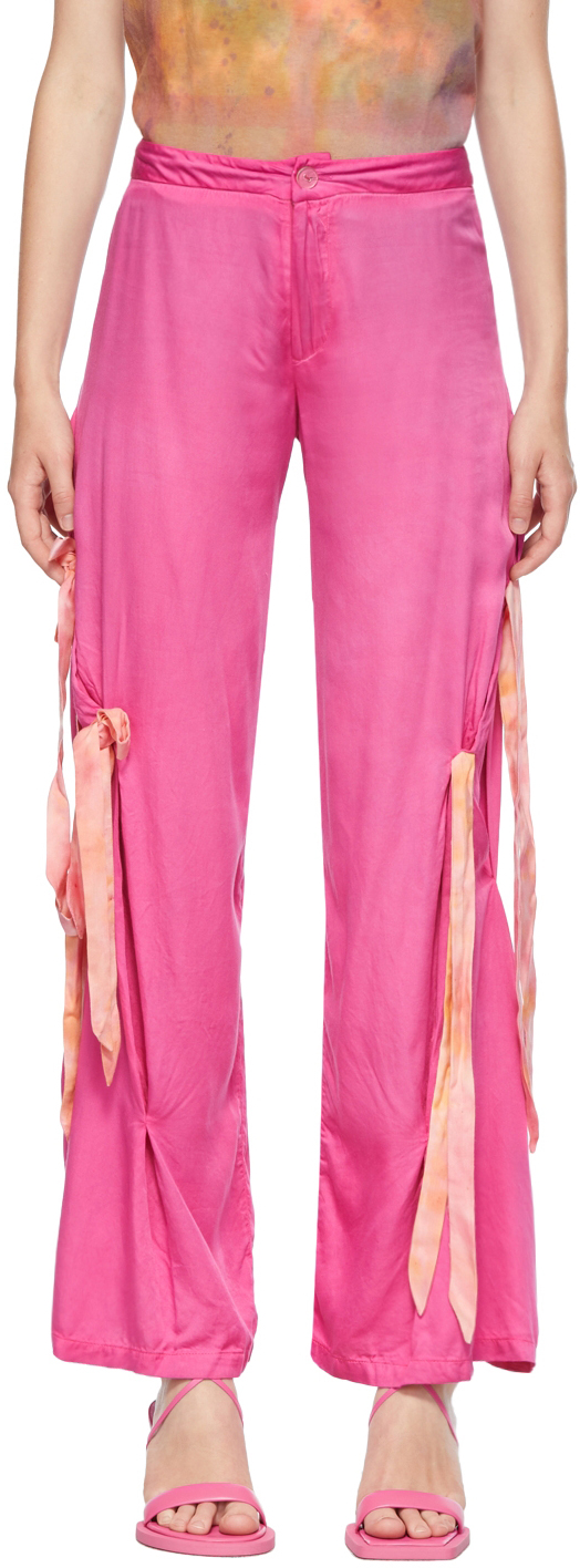 Hot Pink Draped Bow Trousers
