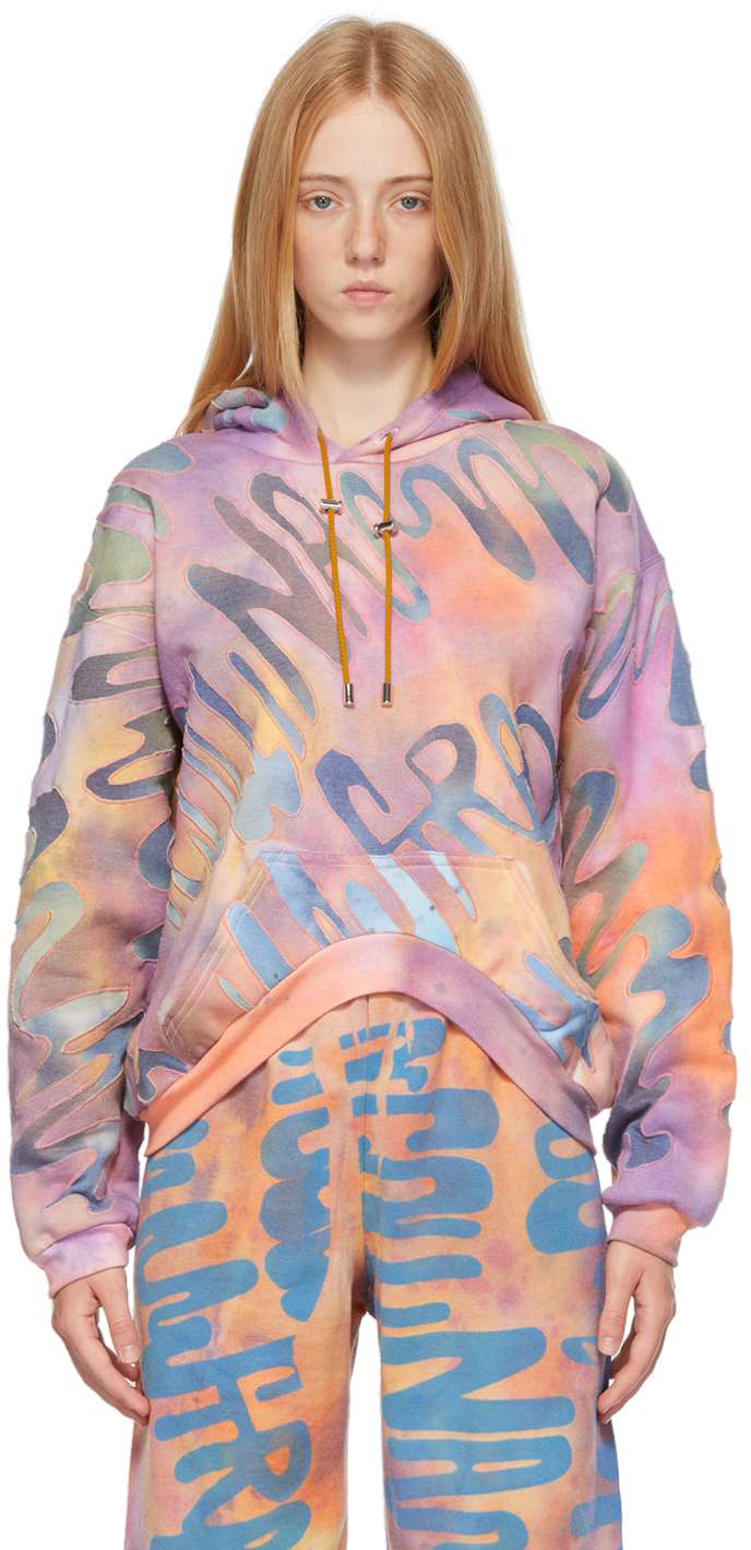 Multicolor 'Collina Land' Quilted Round Hem Hoodie