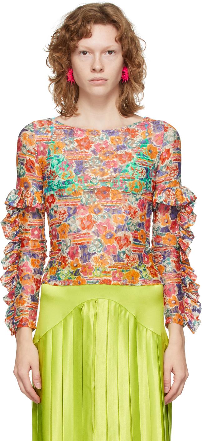 Multicolor 'Collina Land' Ruffle Lace Shirt