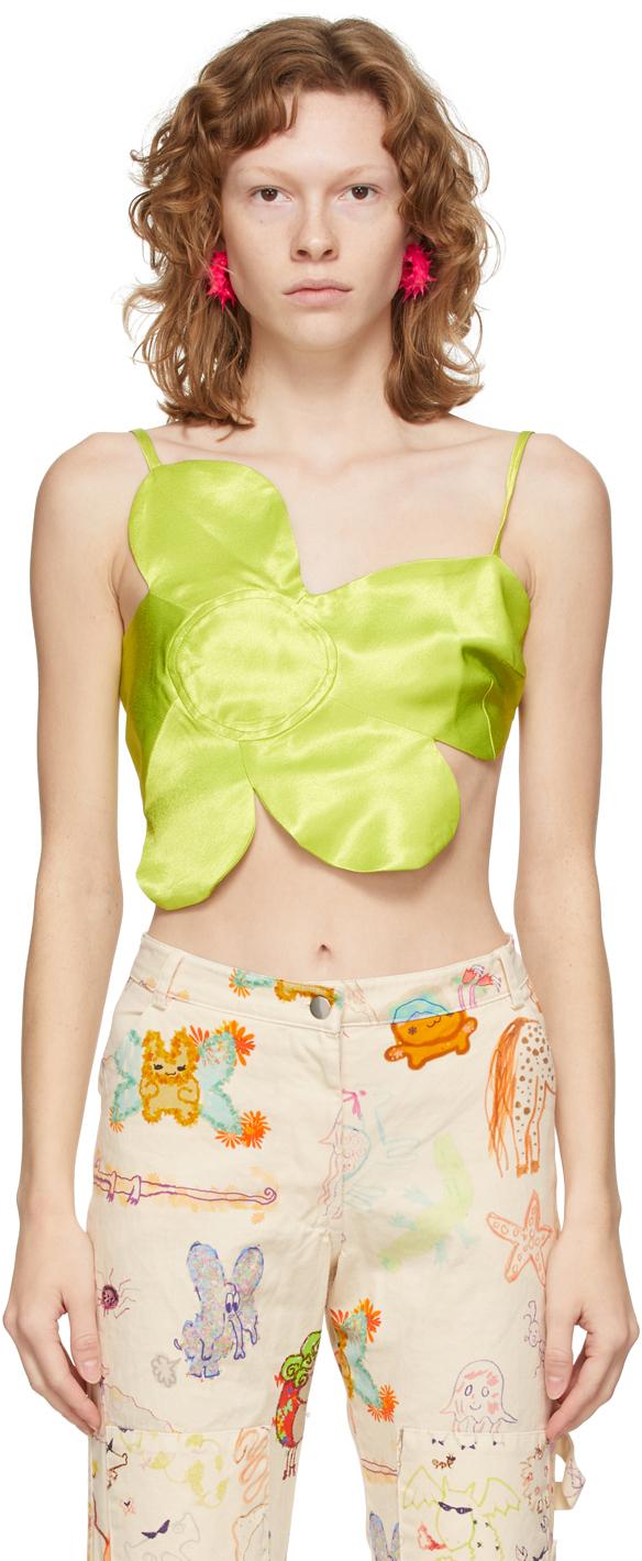 SSENSE Exclusive Green Fancy Flower Camisole