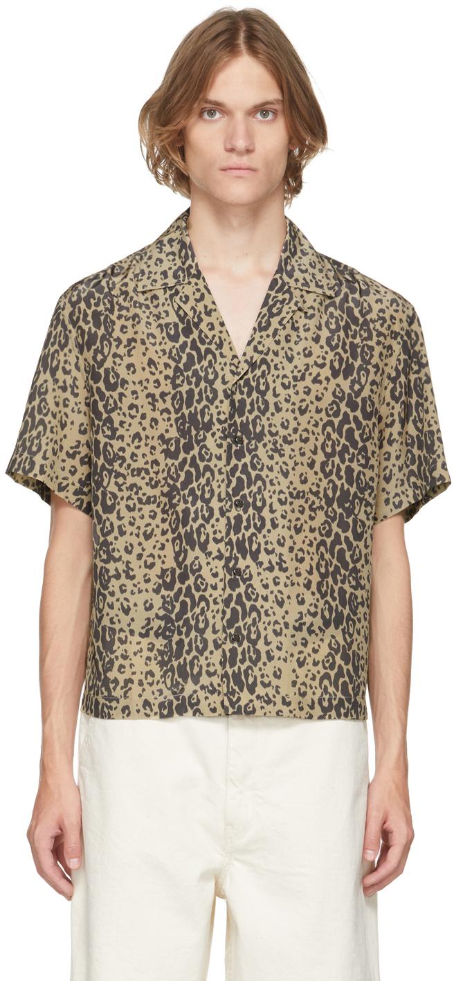 Brown & Black Leopard Print Short Sleeve Shirt