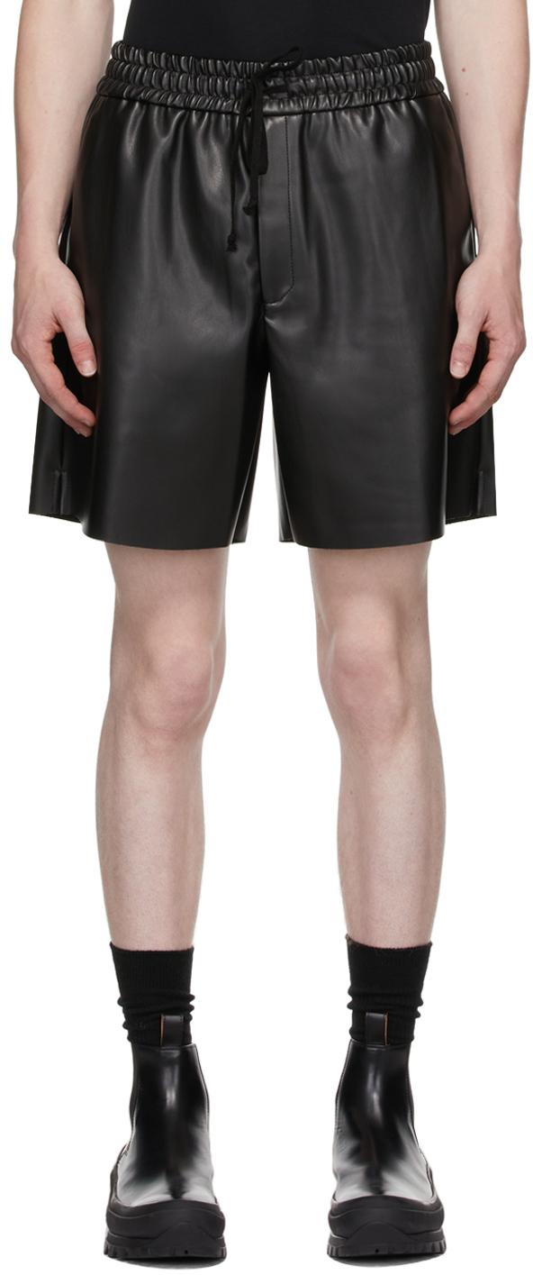 Black Vegan Leather Brooks Shorts