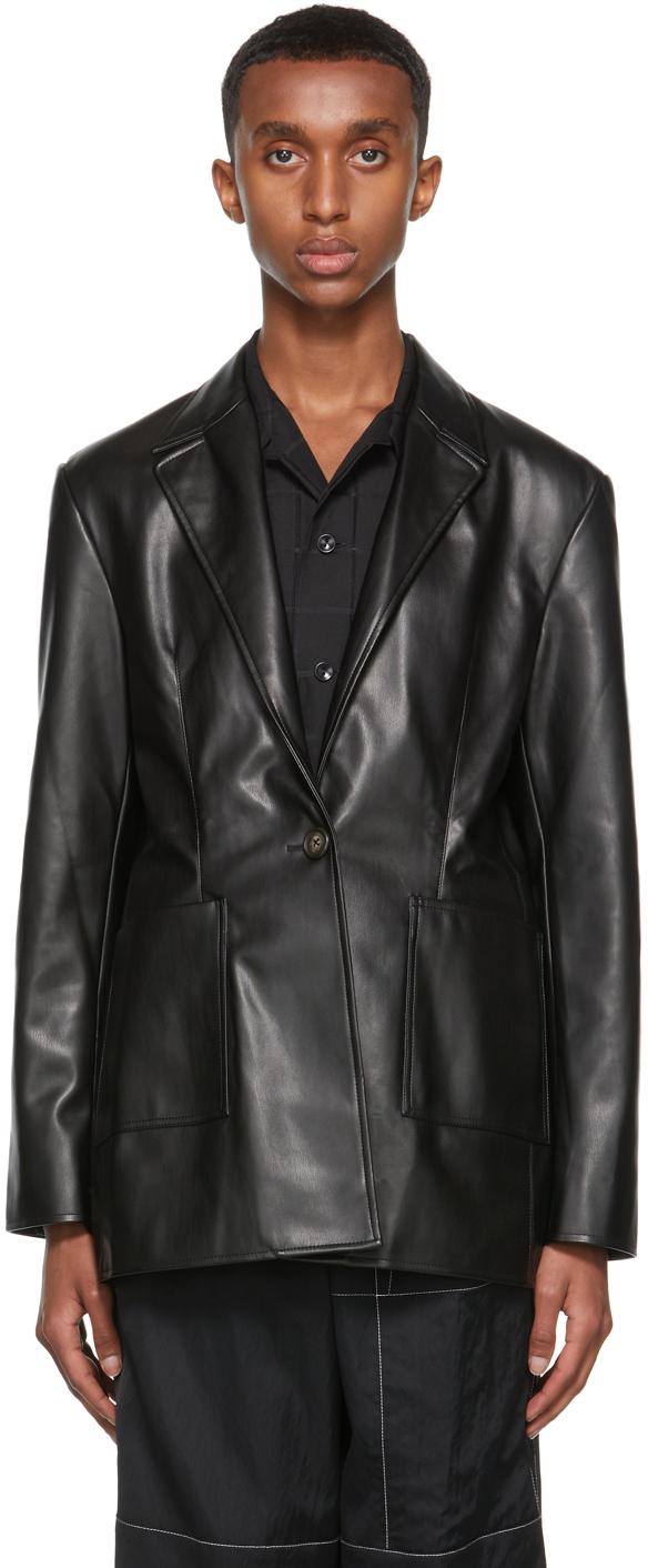 Black Vegan Leather Quinn Blazer