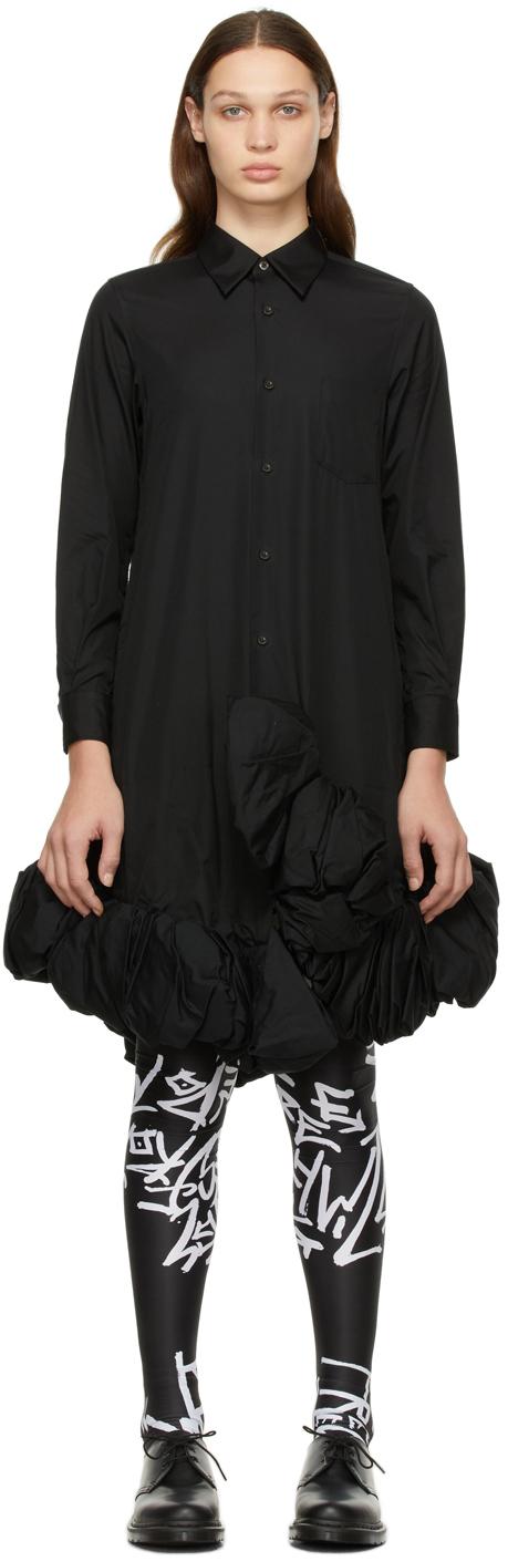 Black Cotton Broad Ruffle Dress