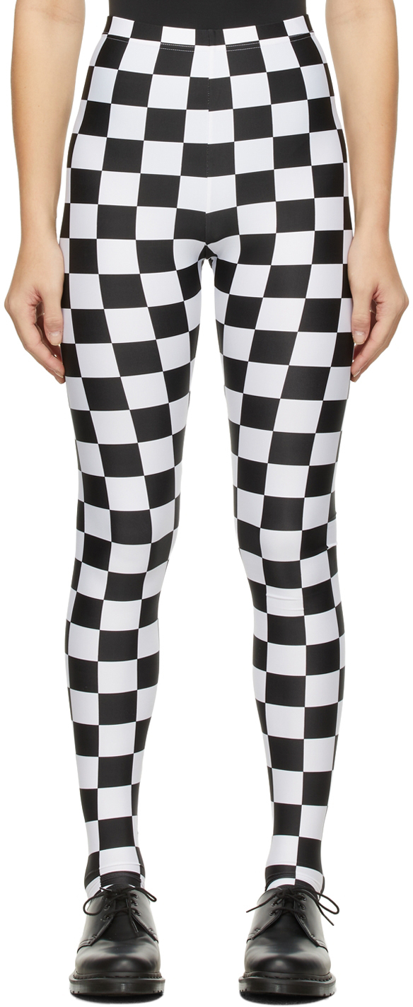 White & Black Check Leggings