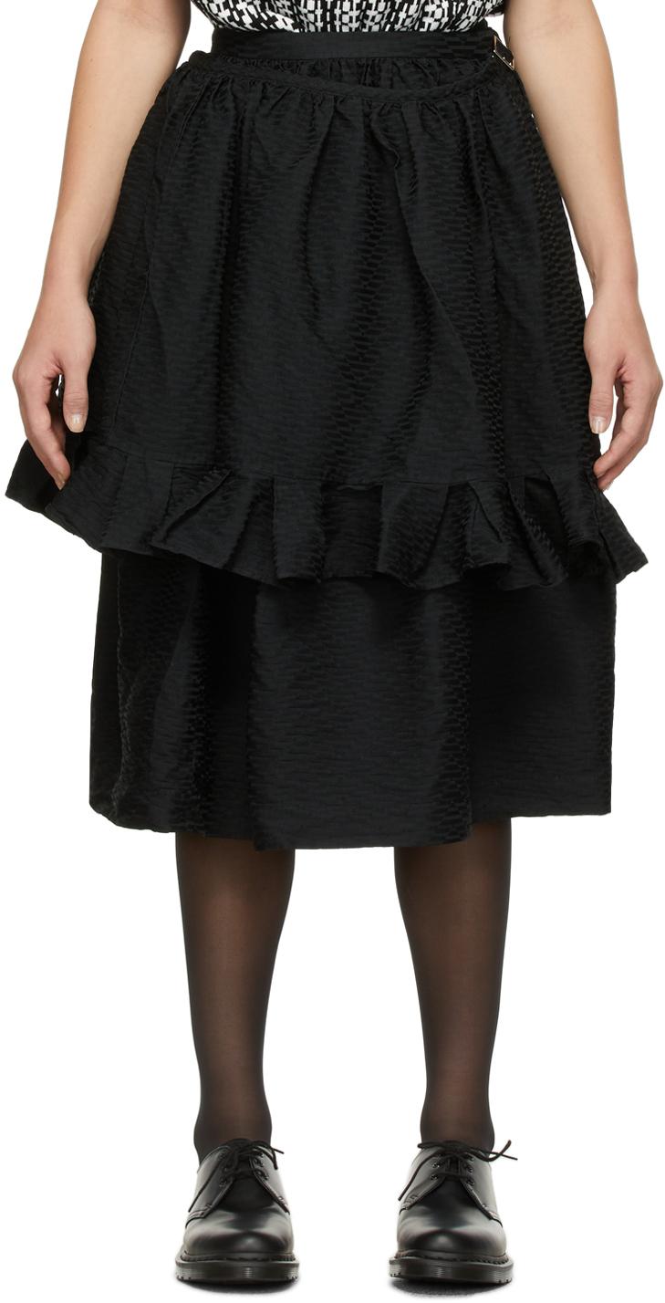 Black Jacquard Pattern Skirt