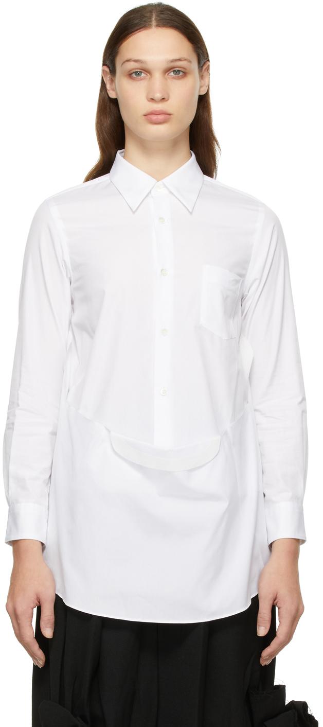 White Cotton Drape Shirt