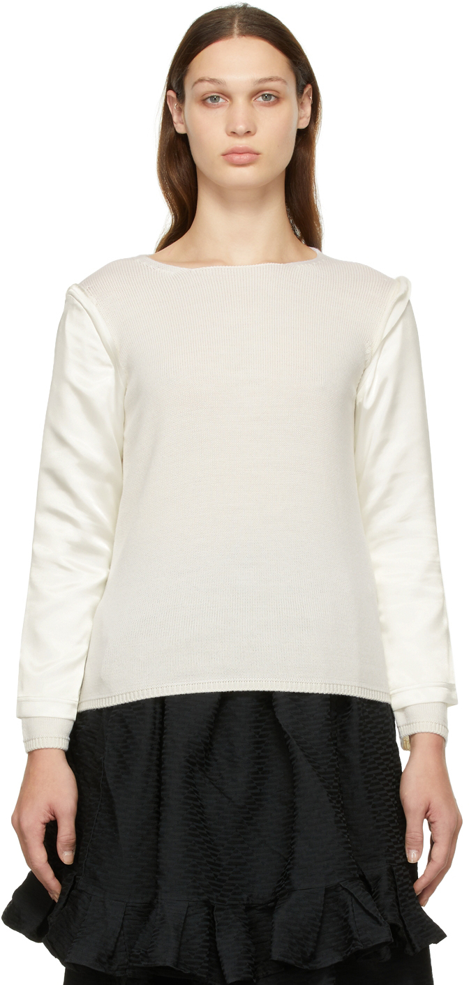 Off-White Wool & Satin Sweater