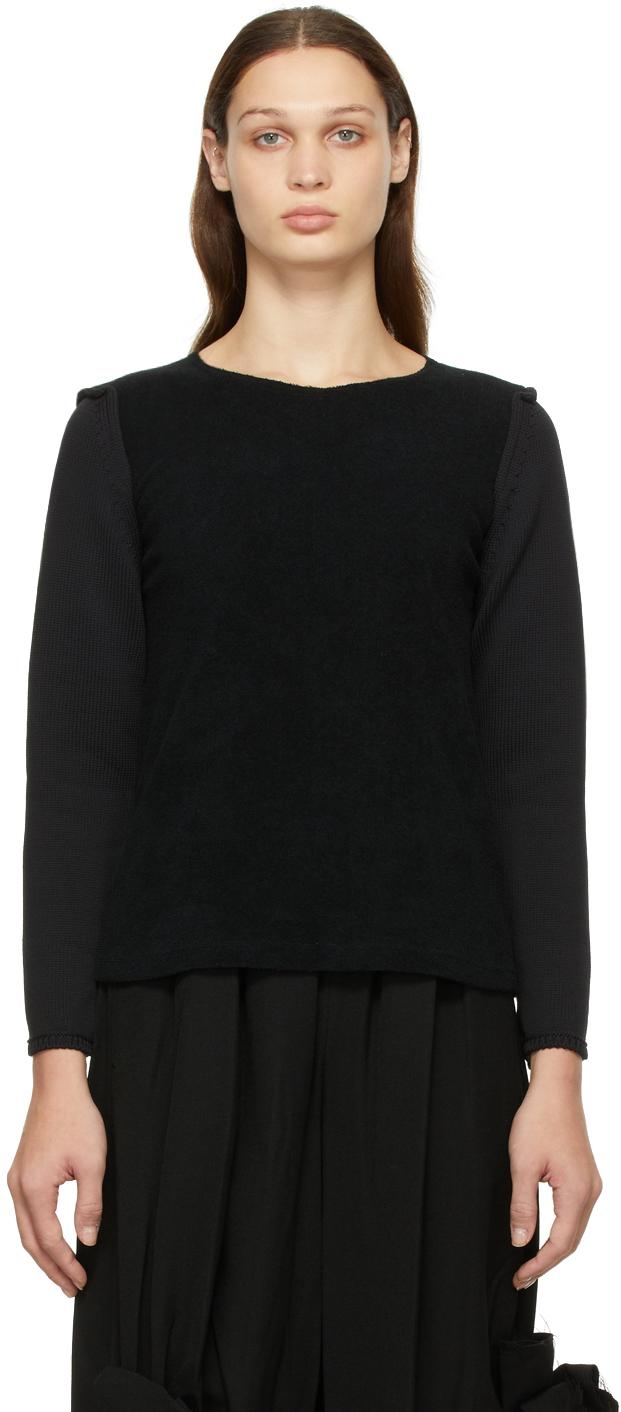 Black Cotton Pile & Jersey Sweater