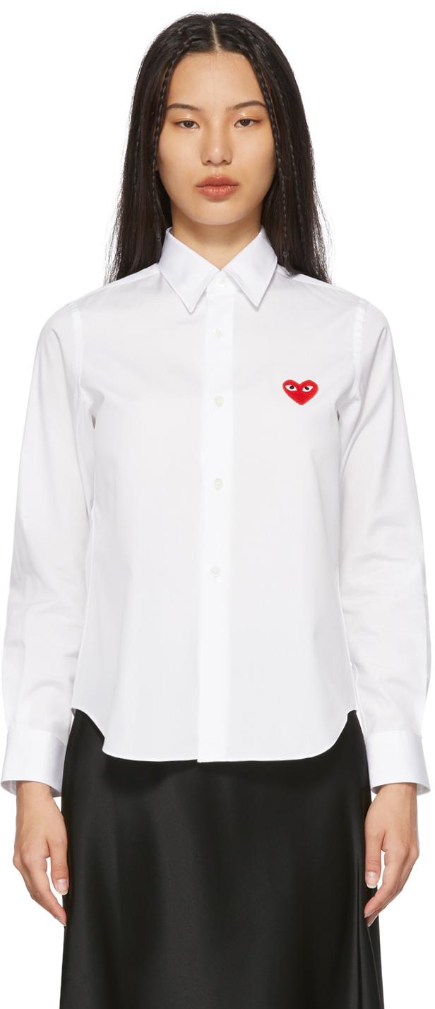 ホワイト Heart Patch シャツ