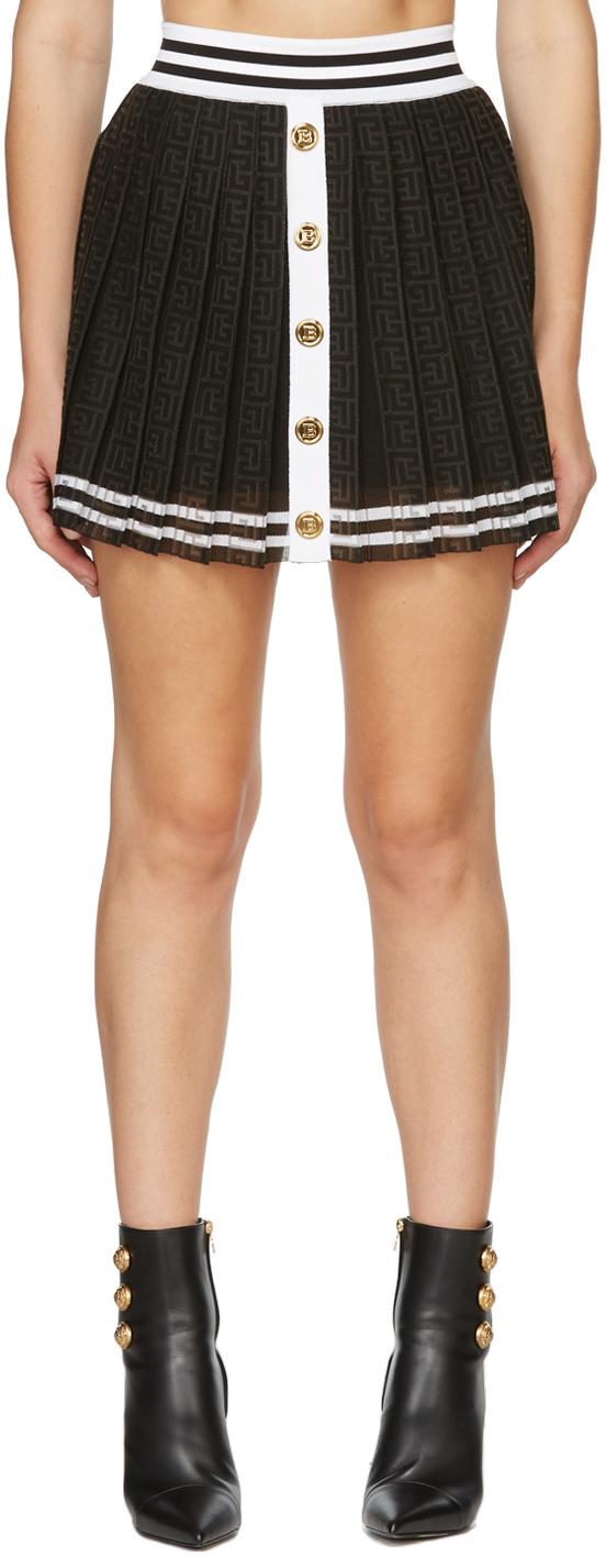 Black & White Pleated Monogram Skirt