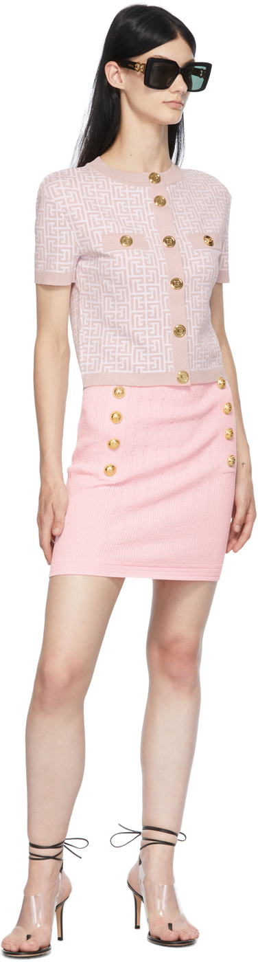 Balmain ピンク & ホワイト クロップド モノグラム カーディガン