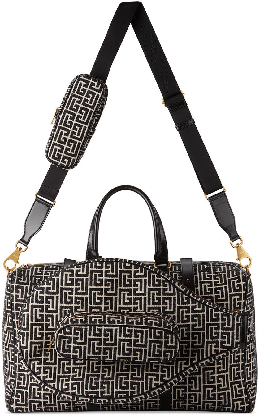 Black & White Jacquard Tennis Bag