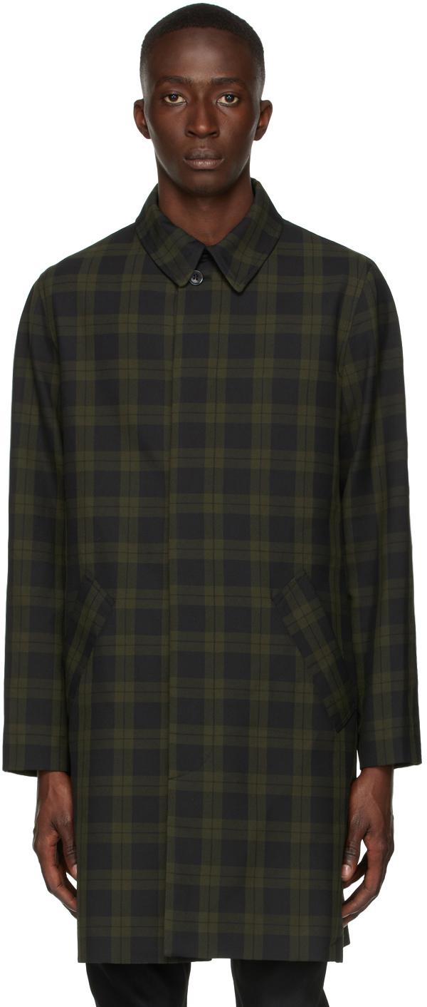 A.p.c. Khaki Checked Single-breasted Coat In Jaa Khaki