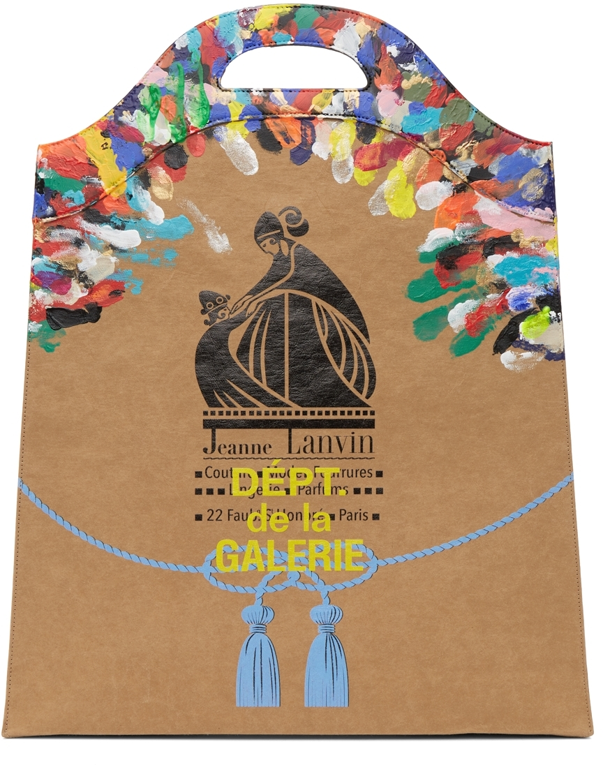 Tan Gallery Dept. Edition Painted Kraft Paper Grocery Tote