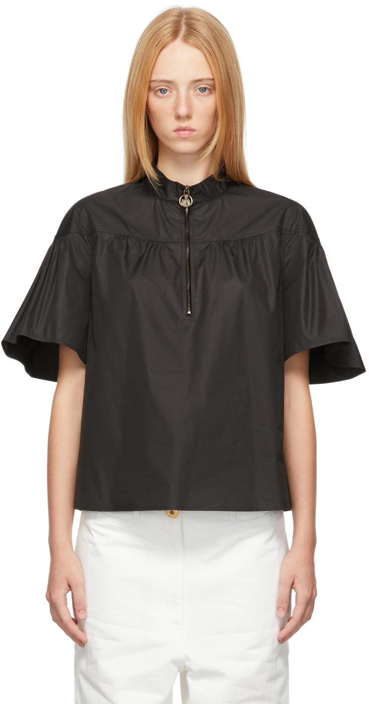 Black Ruffle Sleeve Zip Blouse