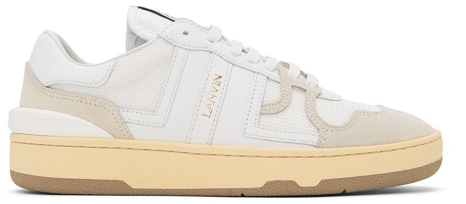 White Calfskin Clay Sneakers