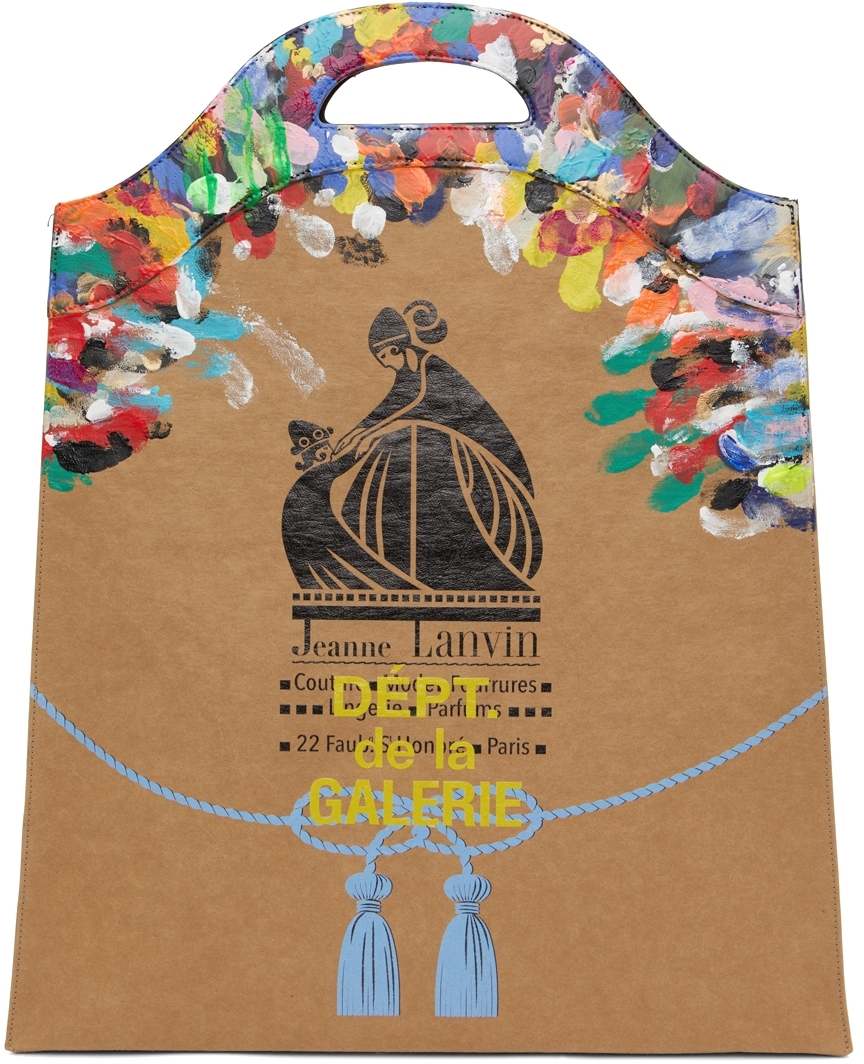 Tan Galley Dept. Edition Painted Kraft Paper Grocery Tote