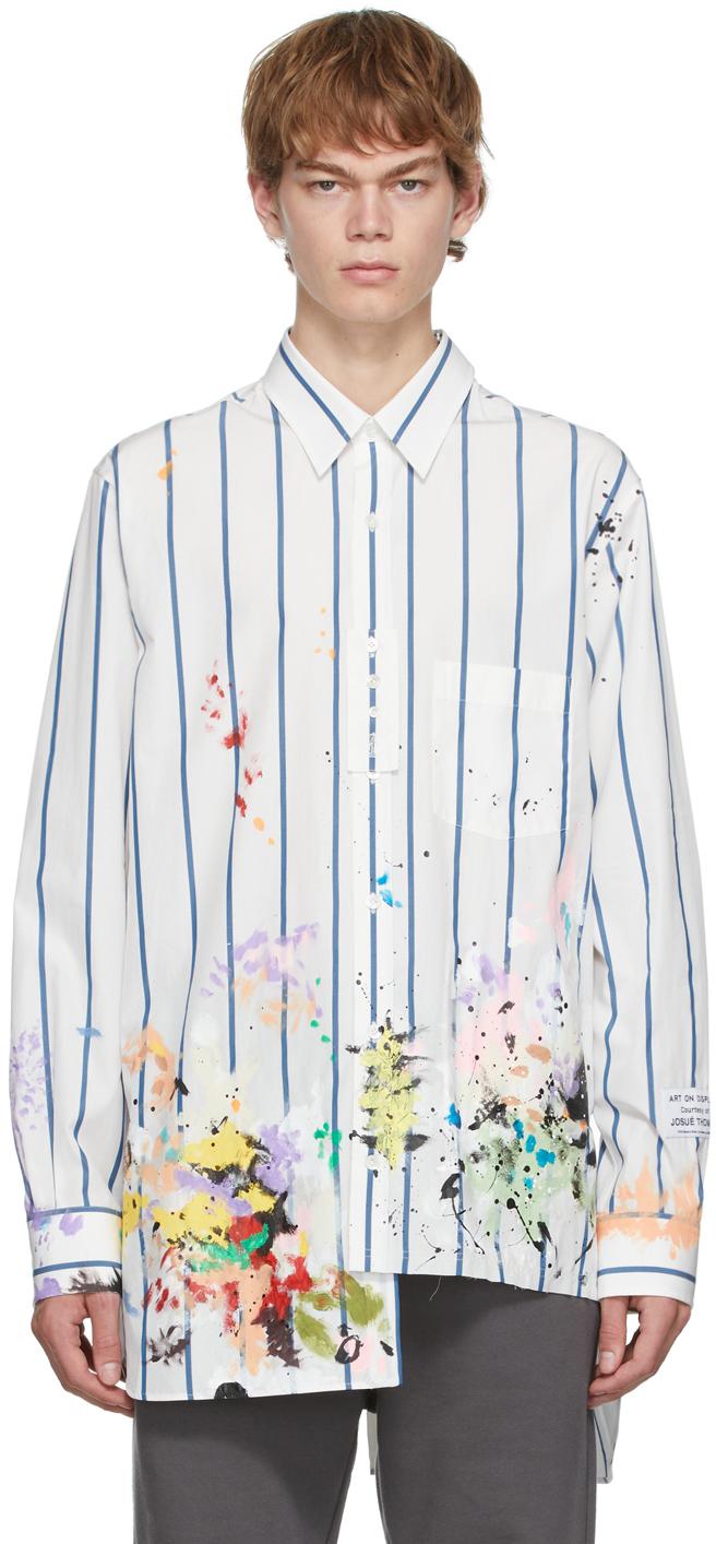 White Gallery Dept Edition Patchwork Asymmetric Shirt