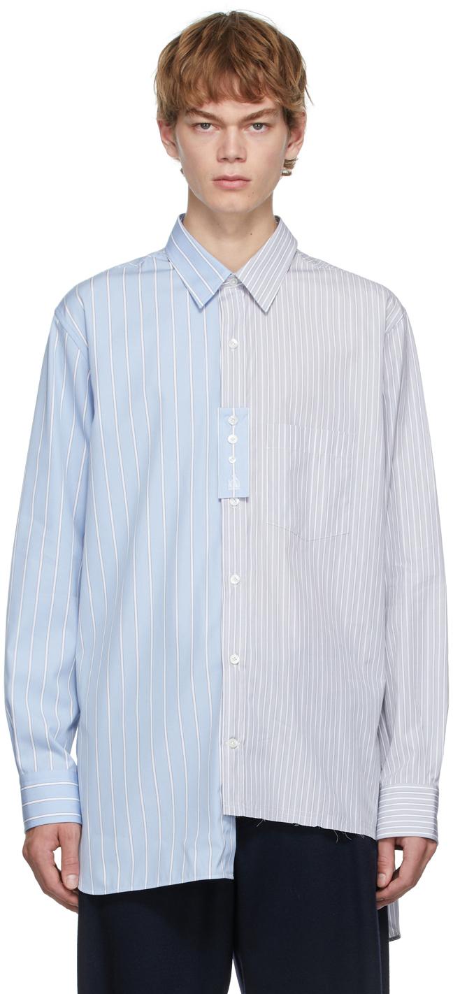 Blue & Grey Oversized Asymmetric Shirt