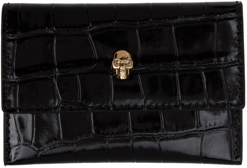 Black Croc Skull Envelope Card Holder