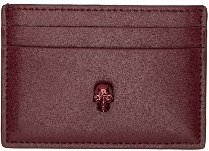 Burgundy Skull Card Holder