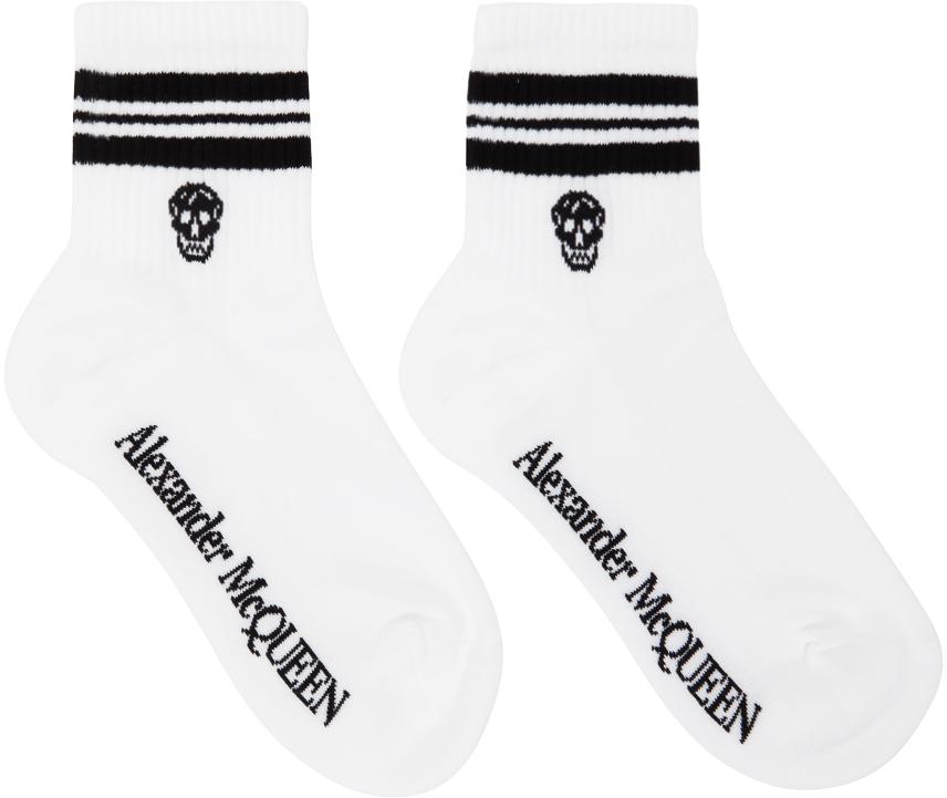 White & Black Stripe Skull Socks
