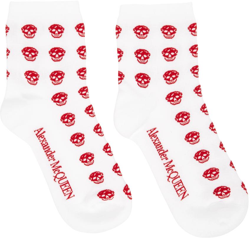White & Red Multiskull Socks
