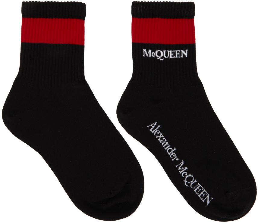 Black & Red Logo Stripe Socks