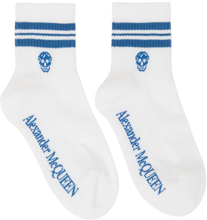 White & Blue Stripe Skull Sport Socks